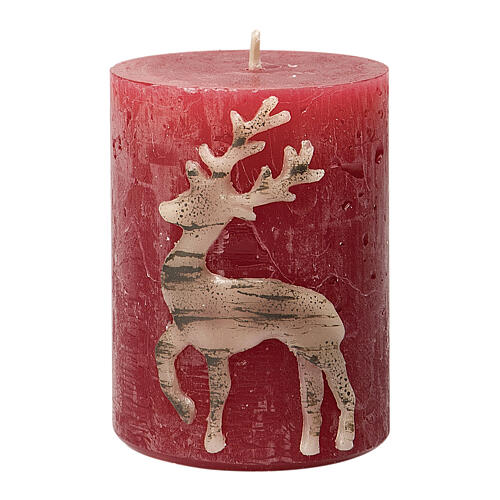 Red candles with beige reindeer, Christmas set of 4, 80x60 mm 2