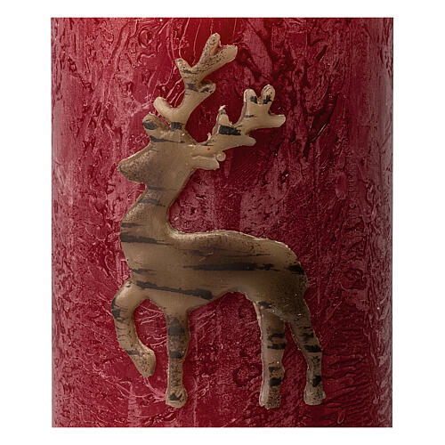 Matt red candles with reindeer, Christmas set of 4, 110x70 mm 3