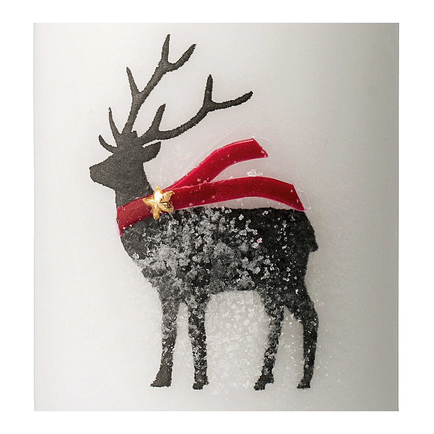 White candles with black reindeer, red scarf, Christmas set of 4, 100x60 mm 3
