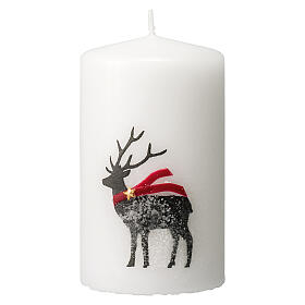 White candles with black reindeer, red scarf, Christmas set of 4, 100x60 mm s2