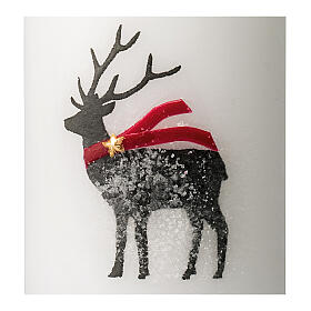 White candles with black reindeer, red scarf, Christmas set of 4, 100x60 mm s3