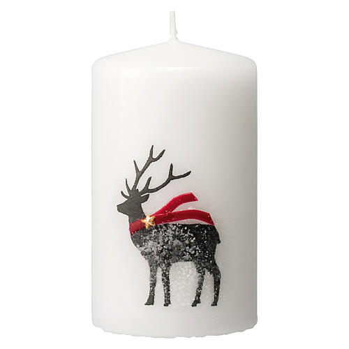White candles with black reindeer, red scarf, Christmas set of 4, 100x60 mm 2