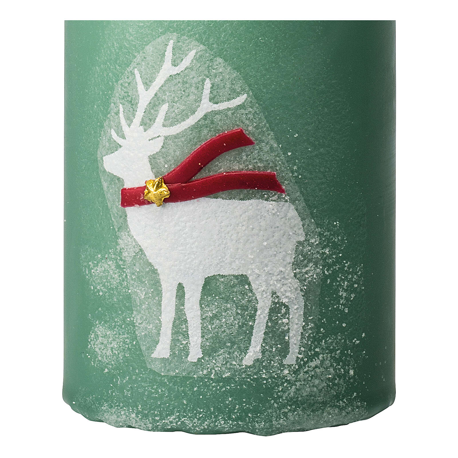 Green candles with white reindeer, Christmas set of 4, 100x60 mm 3