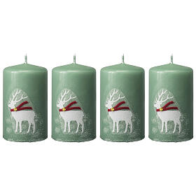 Green candles with white reindeer, Christmas set of 4, 100x60 mm s1