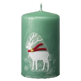 Green candles with white reindeer, Christmas set of 4, 100x60 mm s2