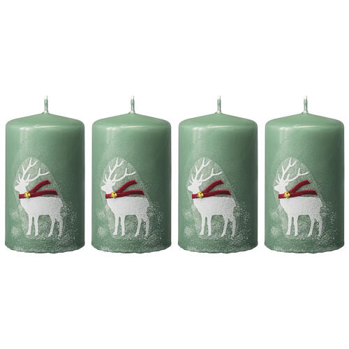 Green candles with white reindeer, Christmas set of 4, 100x60 mm 1