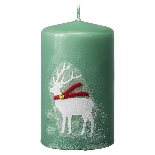 Green candles with white reindeer, Christmas set of 4, 100x60 mm 2