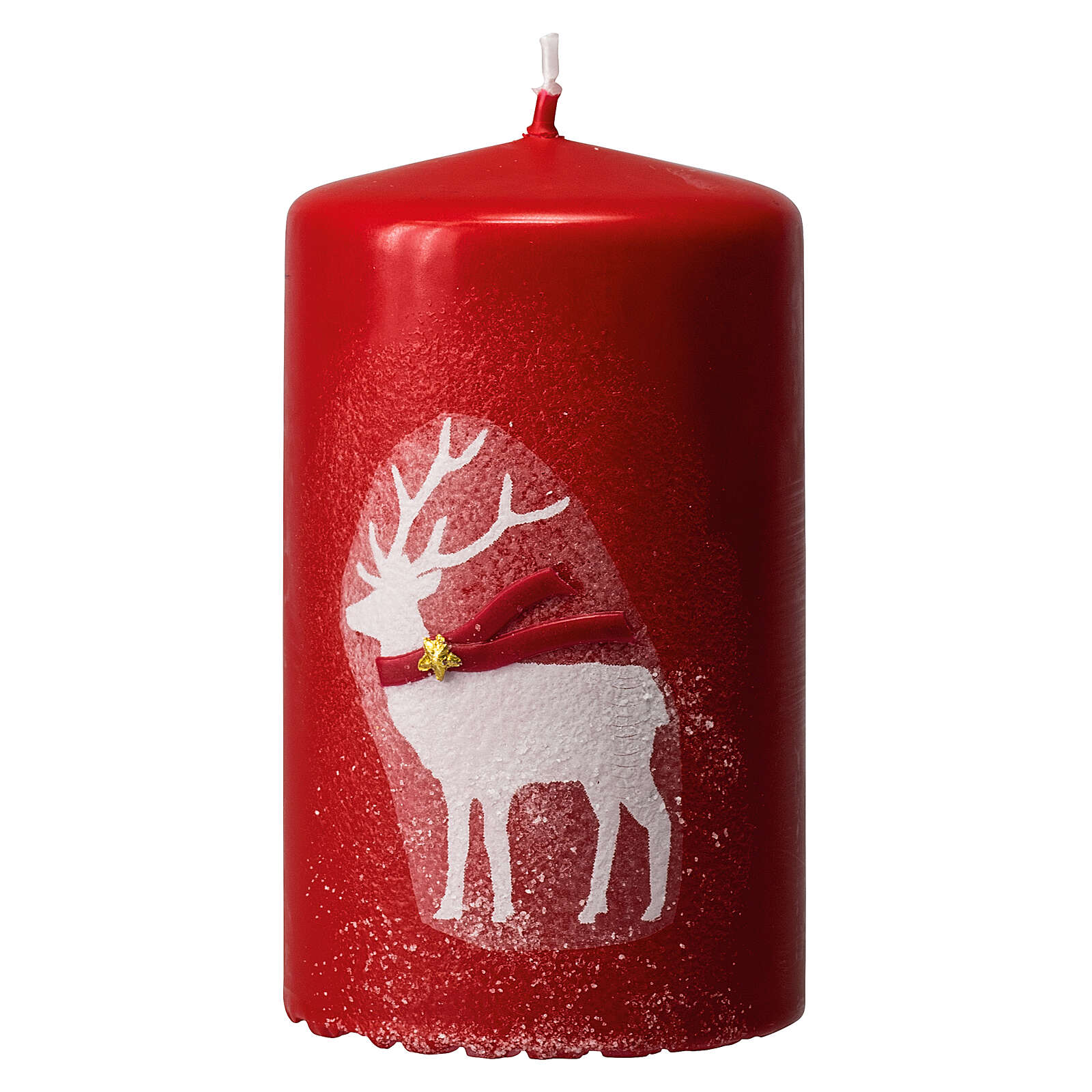 Red candles with white reindeer, Christmas set of 4, 100x60 mm 3