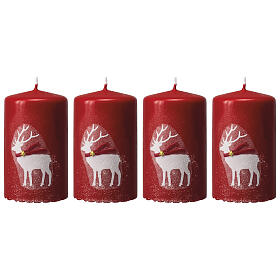 Red candles with white reindeer, Christmas set of 4, 100x60 mm s1