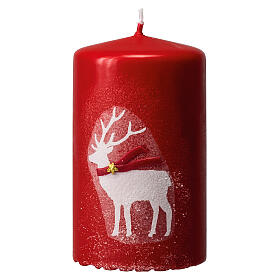 Red candles with white reindeer, Christmas set of 4, 100x60 mm s2
