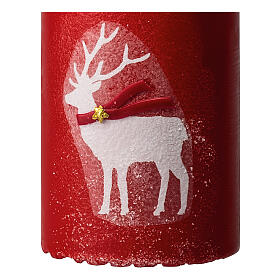 Red candles with white reindeer, Christmas set of 4, 100x60 mm s3