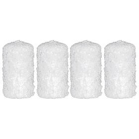 White candles, snow finish, Christmas set of 4, 100x60 mm s1