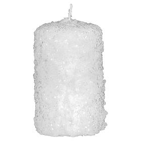 White candles, snow finish, Christmas set of 4, 100x60 mm s2