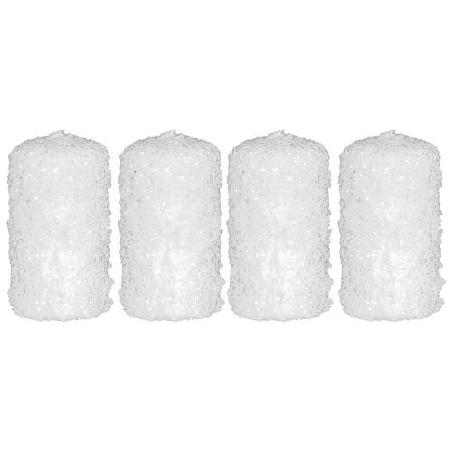 White candles, snow finish, Christmas set of 4, 100x60 mm 1