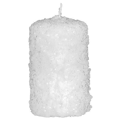 White candles, snow finish, Christmas set of 4, 100x60 mm 2