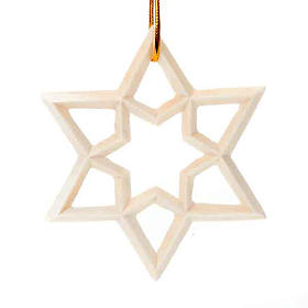 Enfeite de Natal estrela em madeira s1