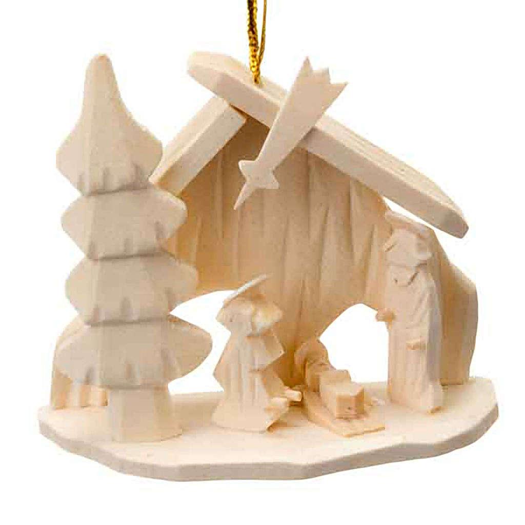 Adorno Sagrada Familia cabaña navidad para colgar 4