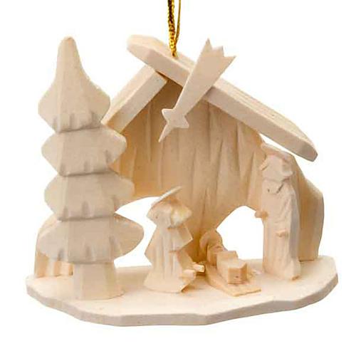 Adorno Sagrada Familia cabaña navidad para colgar 1