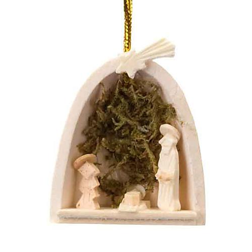 Adorno Sagrada Familia con musgo para colgar 1