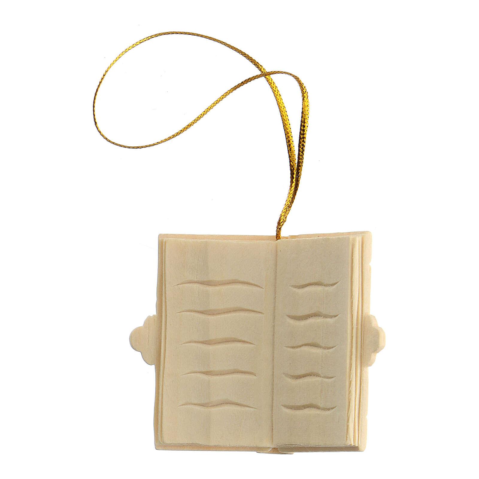 Addobbo Natale libro in legno da appendere 4