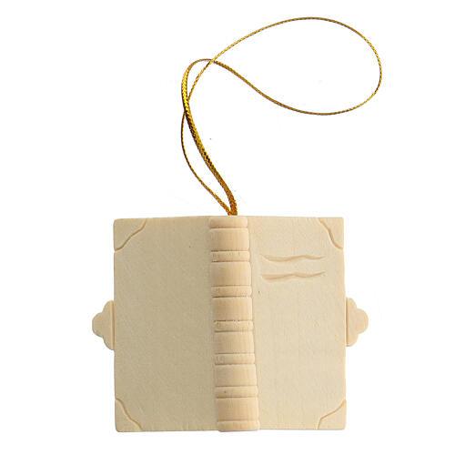 Addobbo Natale libro in legno da appendere 1