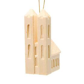 Adornos navideños iglesia de madera para colgar s1