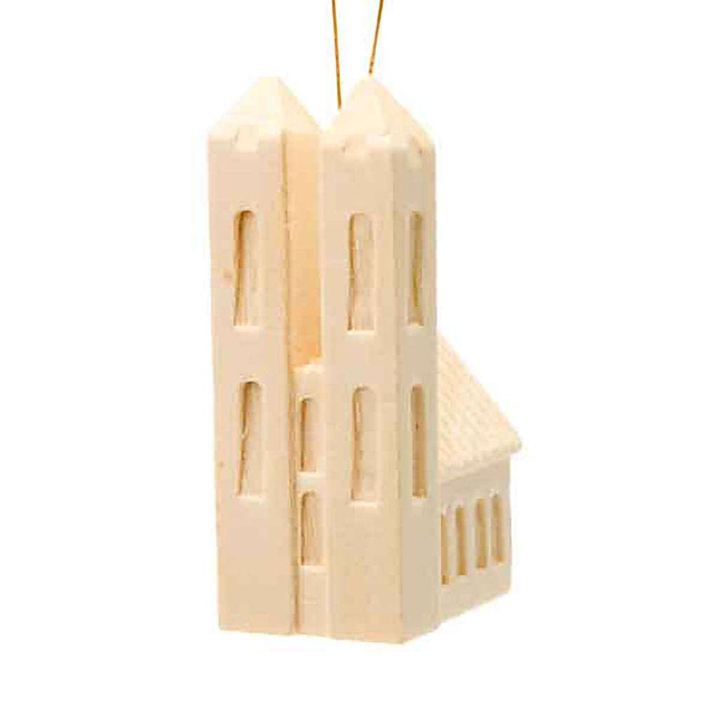 Ozdoba bożonarodzeniowa kościół z drewna do zawieszenia 4