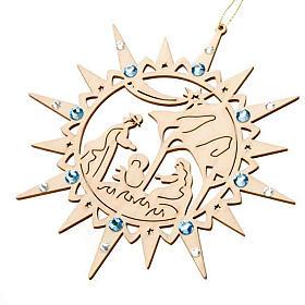 Adornos de madera y pvc para Árbol de Navidad: Estrella belén entallada Swarovski azul adornos navidad