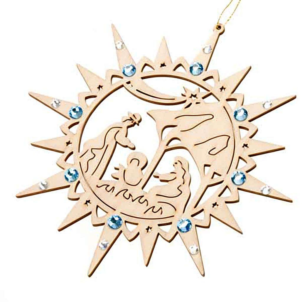 Addobbo stella intagliata presepe Swarovski azzurri 4