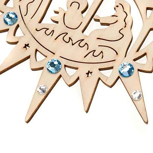 Addobbo stella intagliata presepe Swarovski azzurri 2