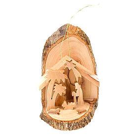 Święta Rodzina z drewna oliwnego do zawieszenia 10 cm s1