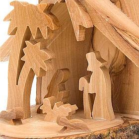 Natividade madeira de oliveira para pendurar 10 cm s2