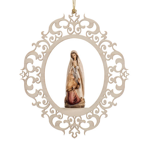 Christmas decor Our Lady of Lourdes with Bernadette wood 1
