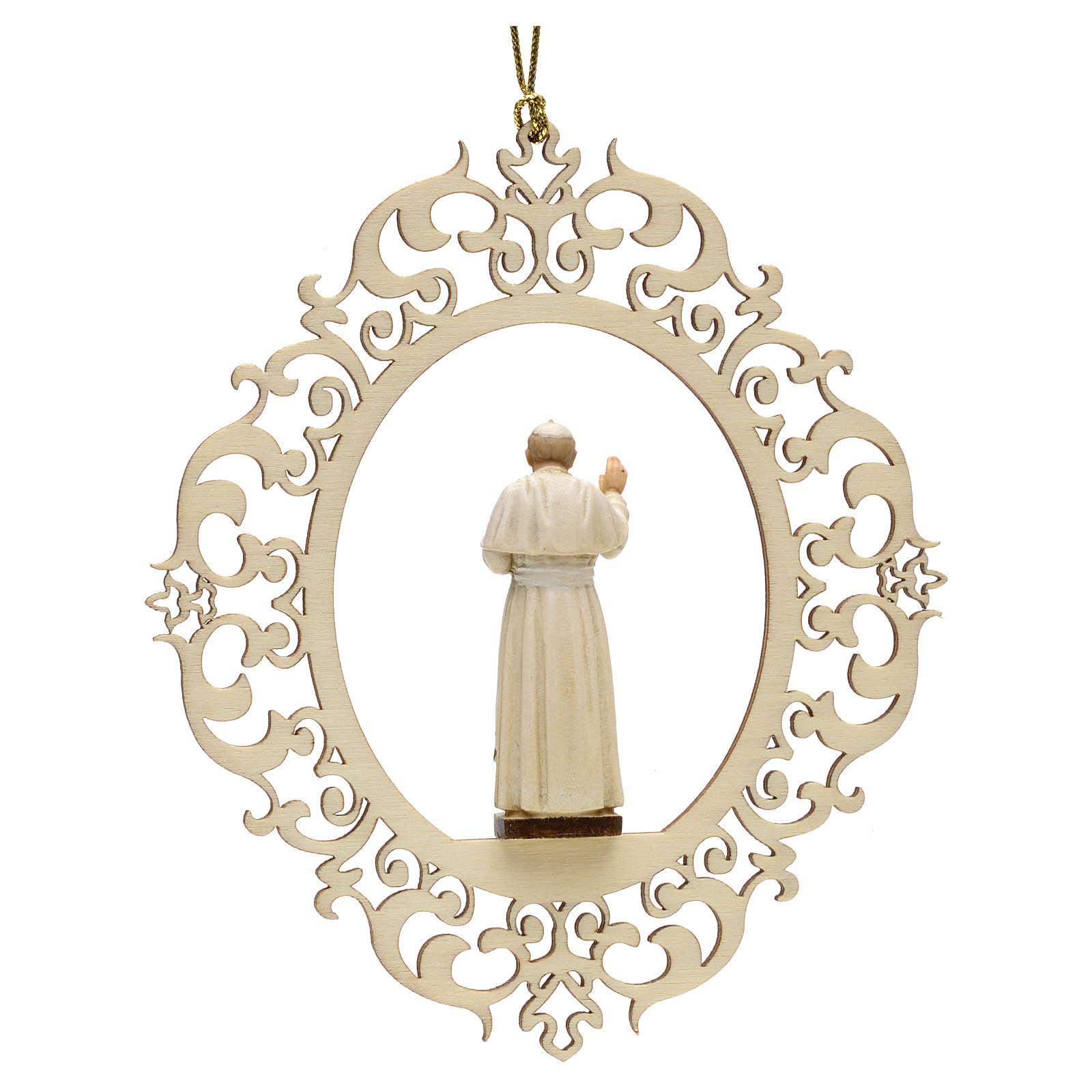 Décoration Noël Pape Jean Paul II bois 4