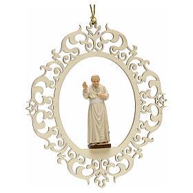 Décoration Noël Pape Jean Paul II bois s1