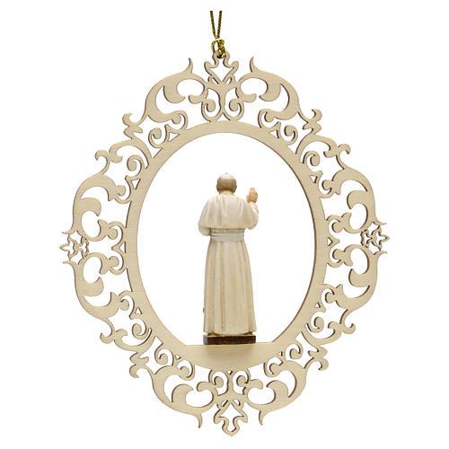 Décoration Noël Pape Jean Paul II bois 2