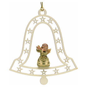 Christmas decor angel with flute on bell s1