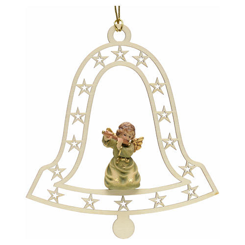 Christmas decor angel with flute on bell 1