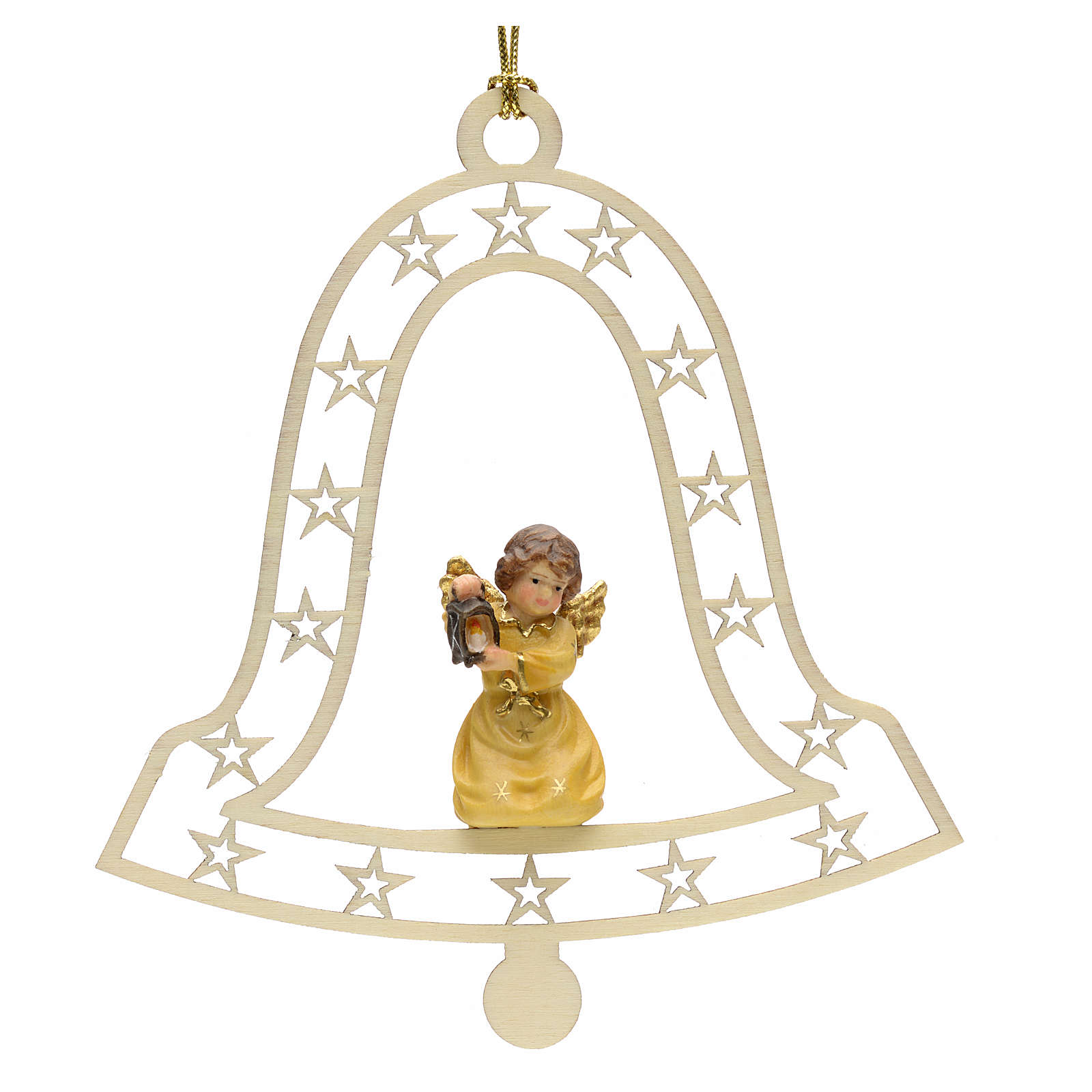 Christmas decor angel with lamp on bell 4