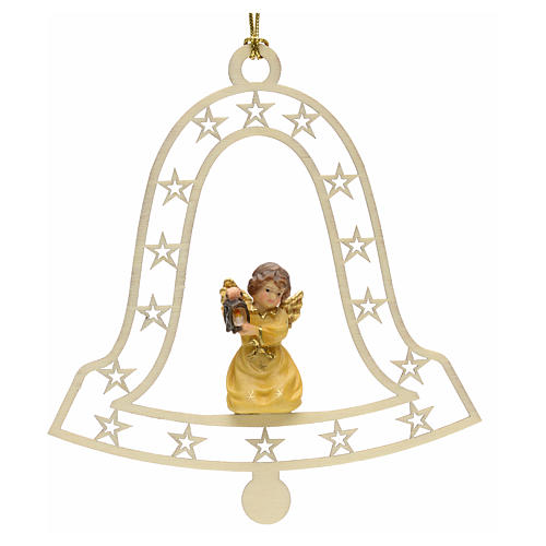 Christmas decor angel with lamp on bell 1