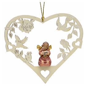 Christmas tree ornaments in wood and pvc: Christmas decor angel with music score on heart