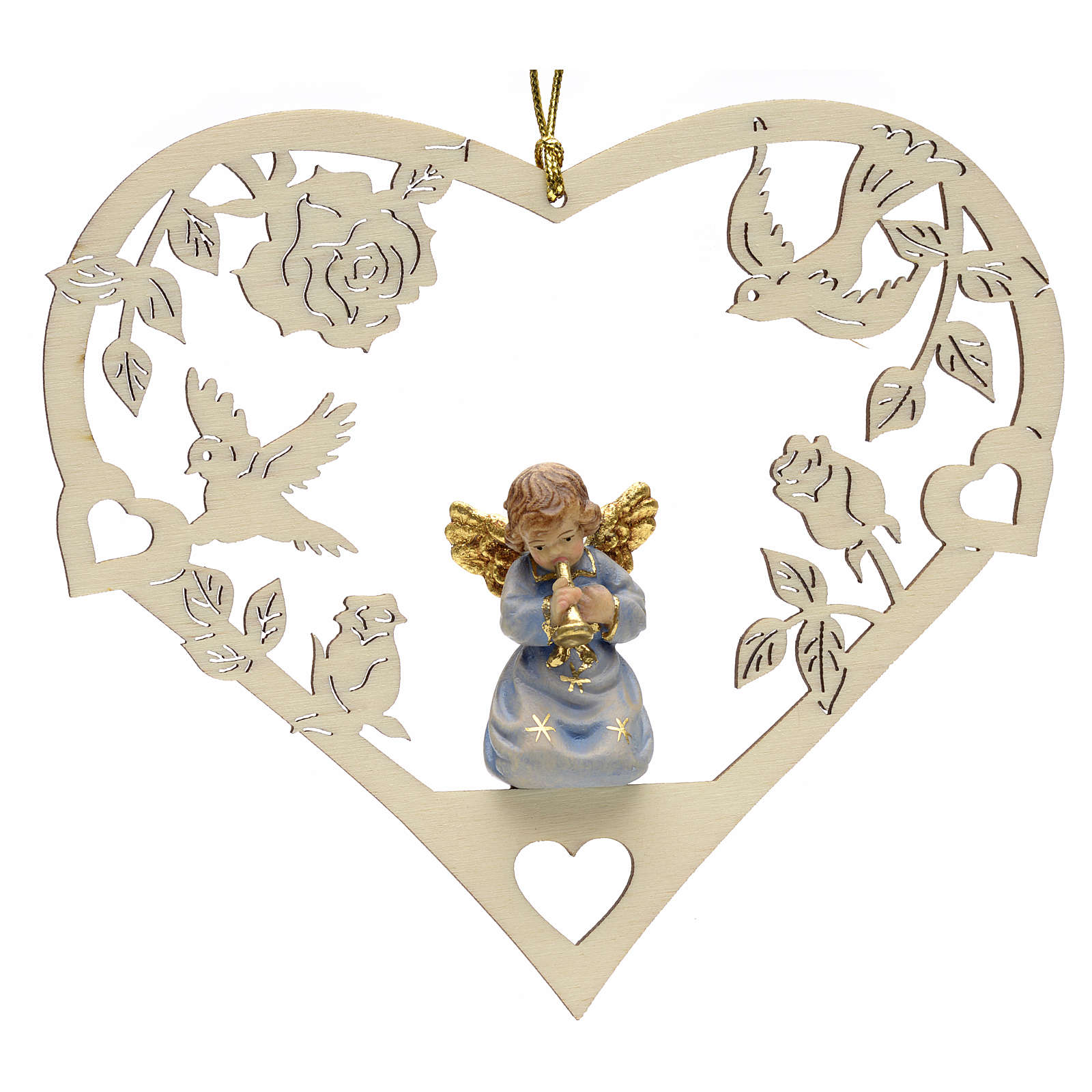 Christmas decor angel with trumpet on heart 4