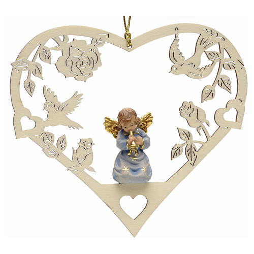 Christmas decor angel with trumpet on heart 1