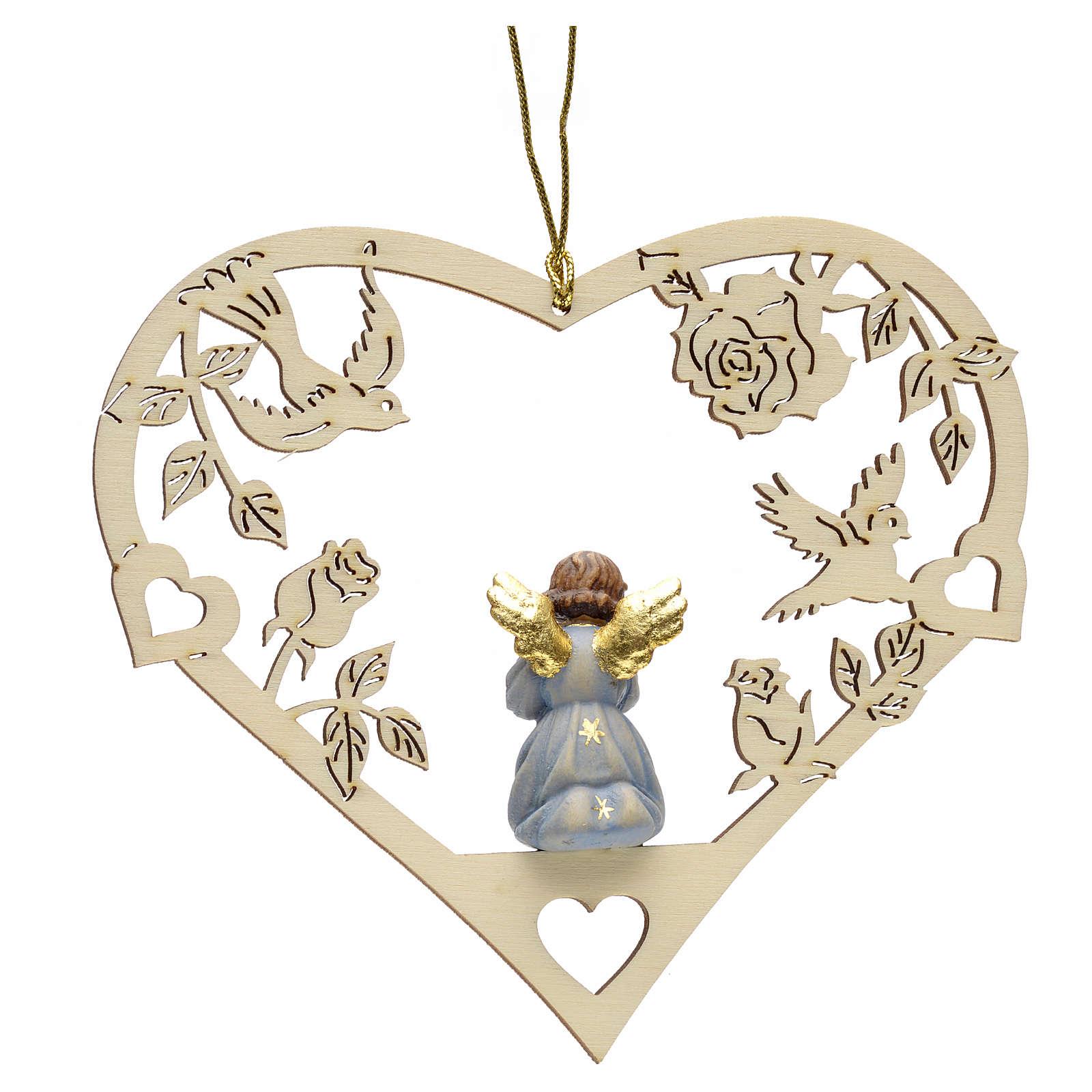 Adorno Natal anjo coração com trombeta 4