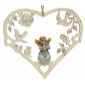 Adorno Natal anjo coração com trombeta s1