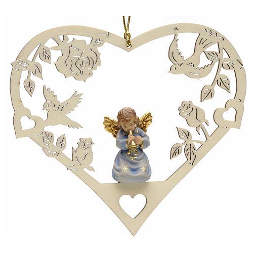 Adorno Natal anjo coração com trombeta 1