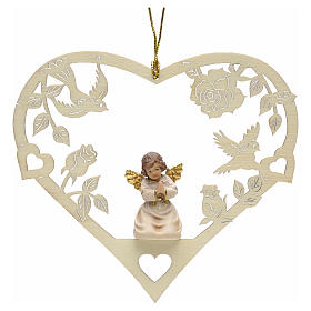 Christmas tree ornaments in wood and pvc: Christmas decor praying angel on heart