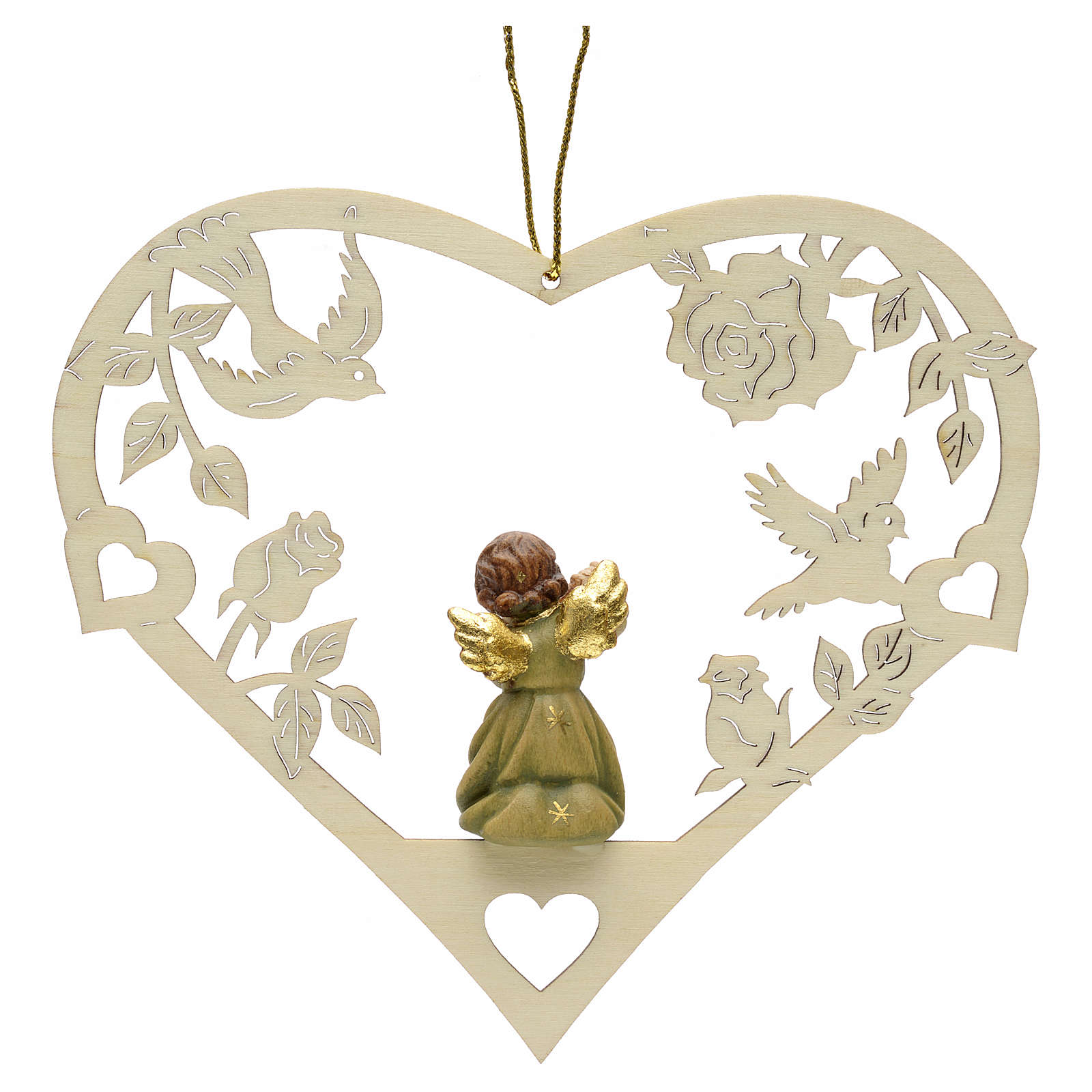 Christmas decor angel with flute on heart 4