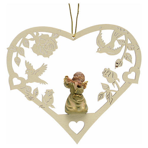 Christmas decor angel with flute on heart 1