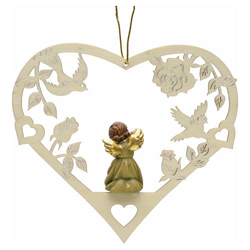 Christmas decor angel with flute on heart 2